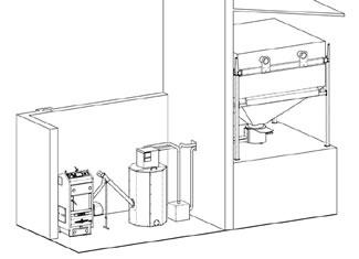 Zapojení kotle a sila s pneumatickým dopravníkem pelet