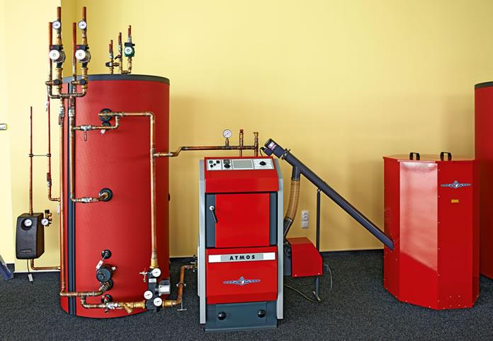 automatischer Kessel für Pellets D 21 P mit Brenner für Pellets Atmos A25