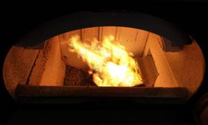 Flamme des Brenners für Pellets ATMOS A25, der im Kessel D 20 P eingebaut ist